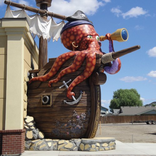 massive exterior octopus on building