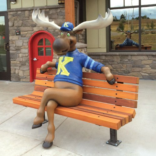 moose character on bench